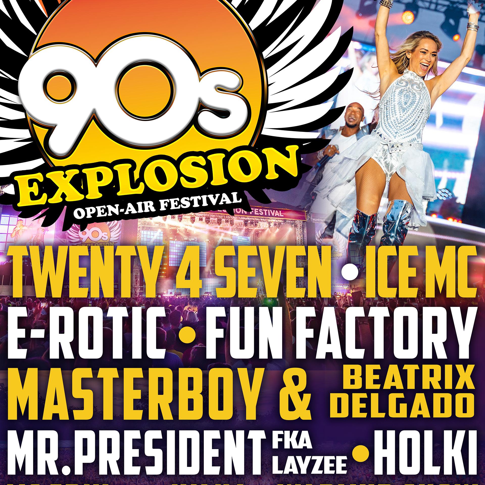90s Explosion open-air festival Brno 2020<BR>Největší 90s festival na Moravě!<BR>Twenty 4 Seven, Mr. President, E-Rotic, Fun Factory, Masterboy a další..