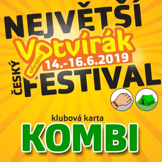 Festival Votvírák 2019<br>Největší hudební festival<br><b><font color=red>Klubová karta Kombi</font></b>