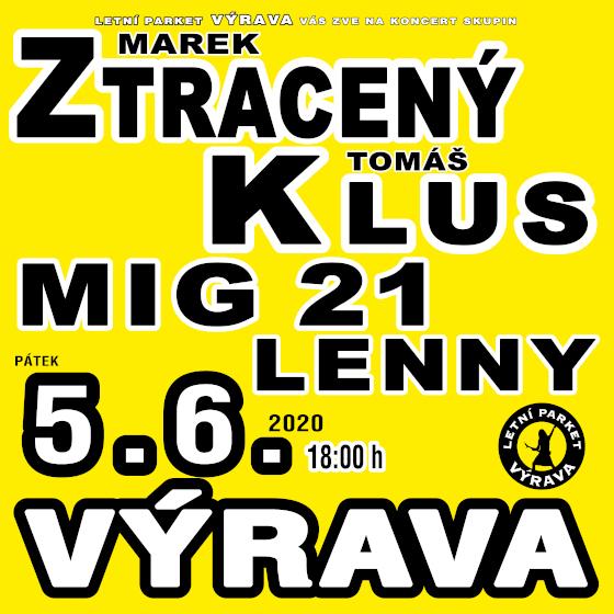 Tomáš Klus, Mig 21, Marek Ztracený, Lenny<br>Výrava Open Air 2020